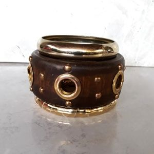 Wood Metal Acrylic 3 Bangles Bracelet Set